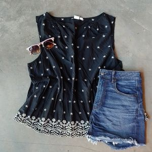 Gap Black Tank with White Star Embroidery XL